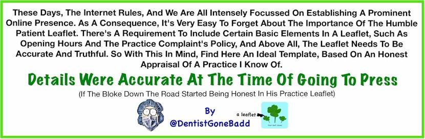 Patient Leaflet by @DentistGoneBadd
